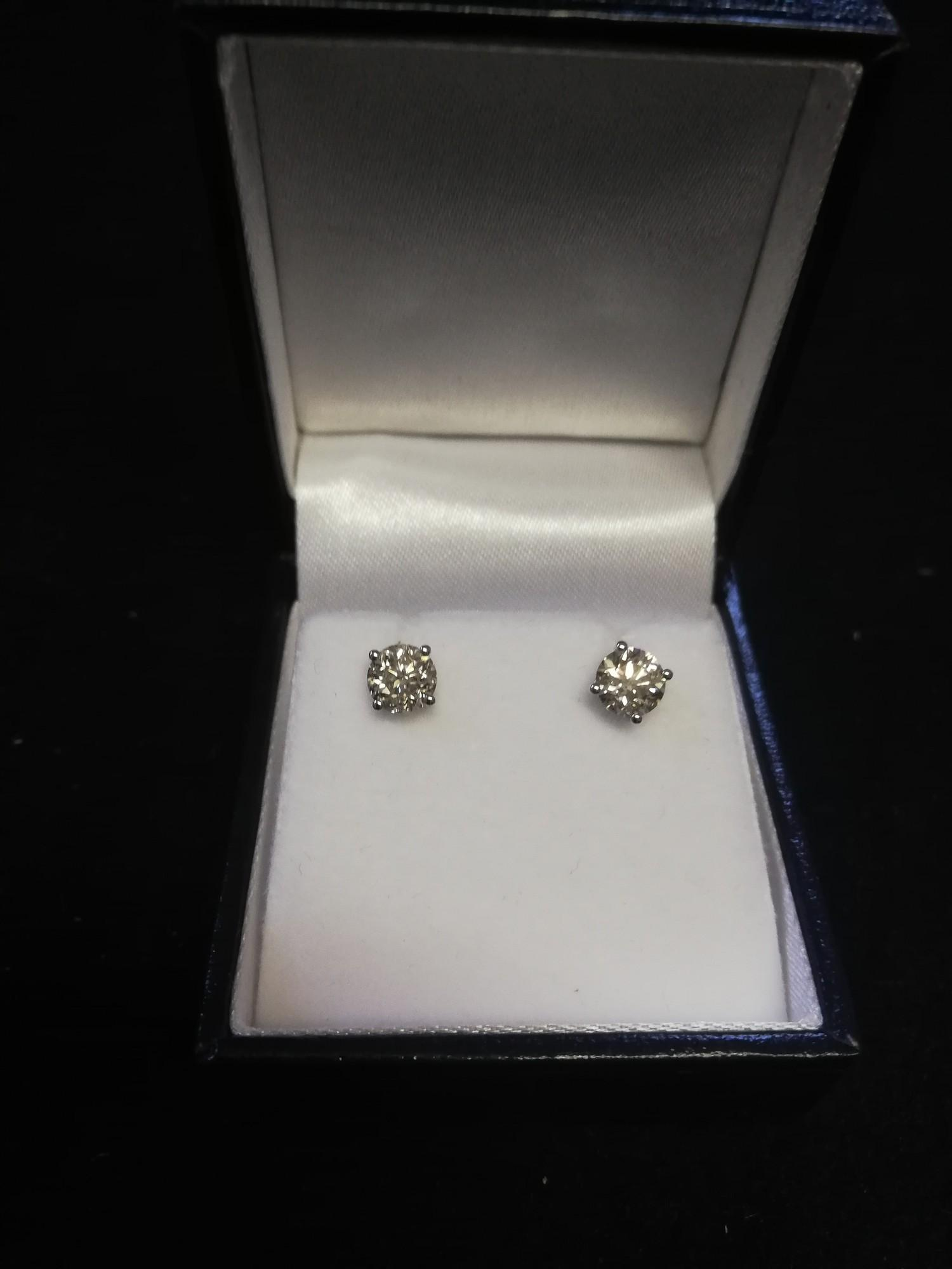 Pair 18ct white gold diamond studs -approx diamond weight 1.41ct - Image 2 of 2