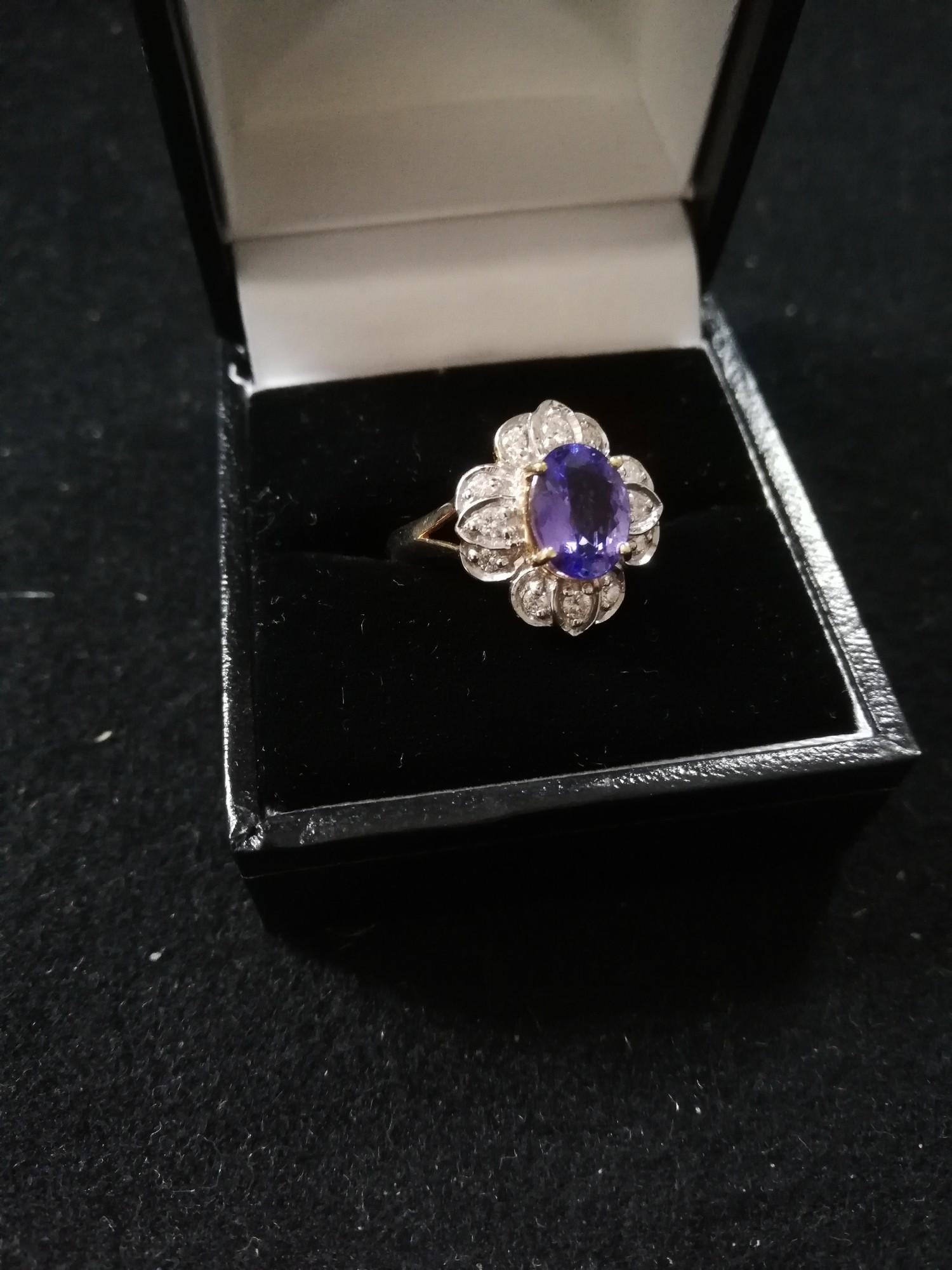 18ct Tanzanite and Diamond ring - Image 2 of 2