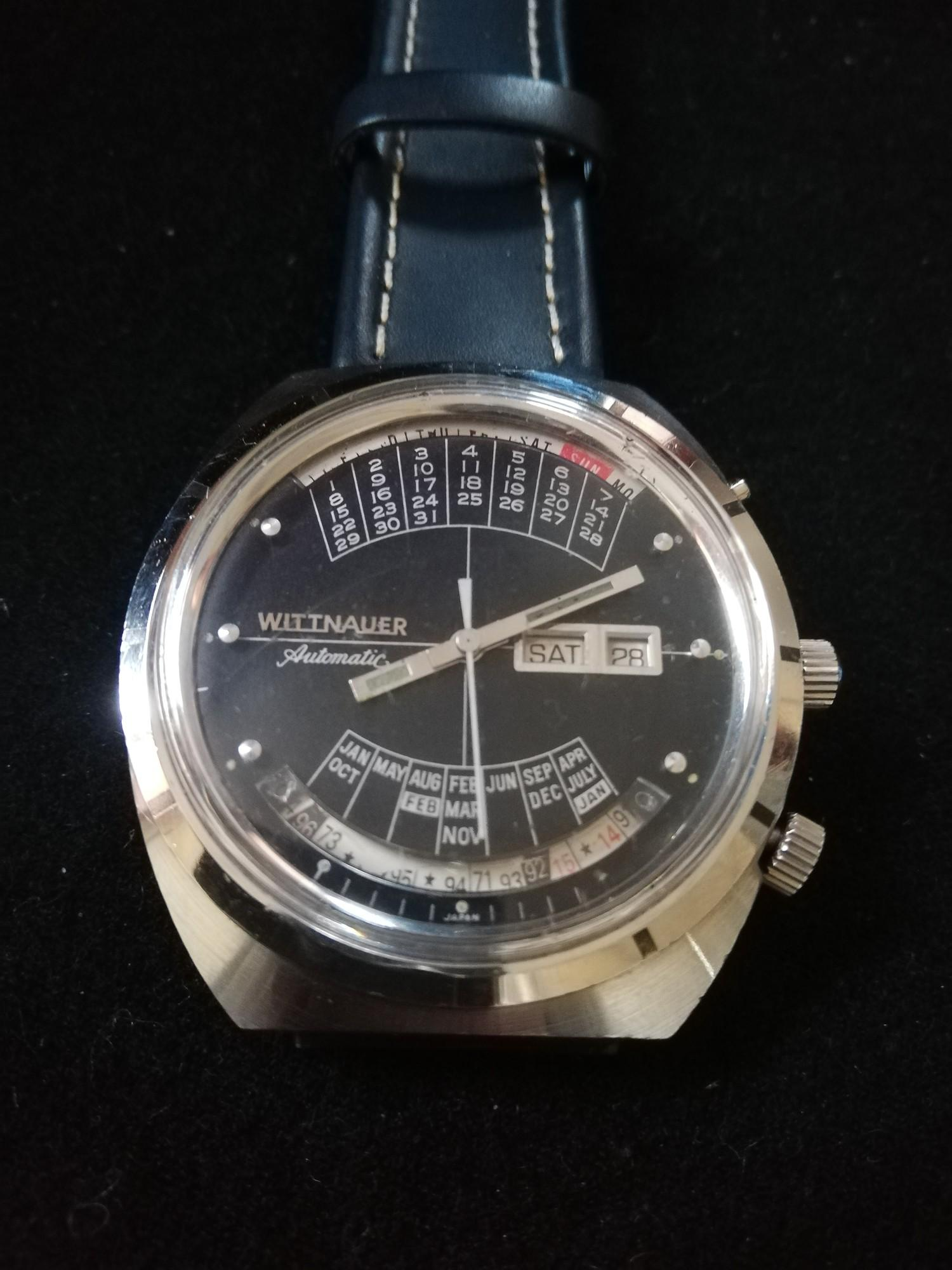 Wittnauer 2000 automatic perpetual calendar watch -stainless steel case & leather strap