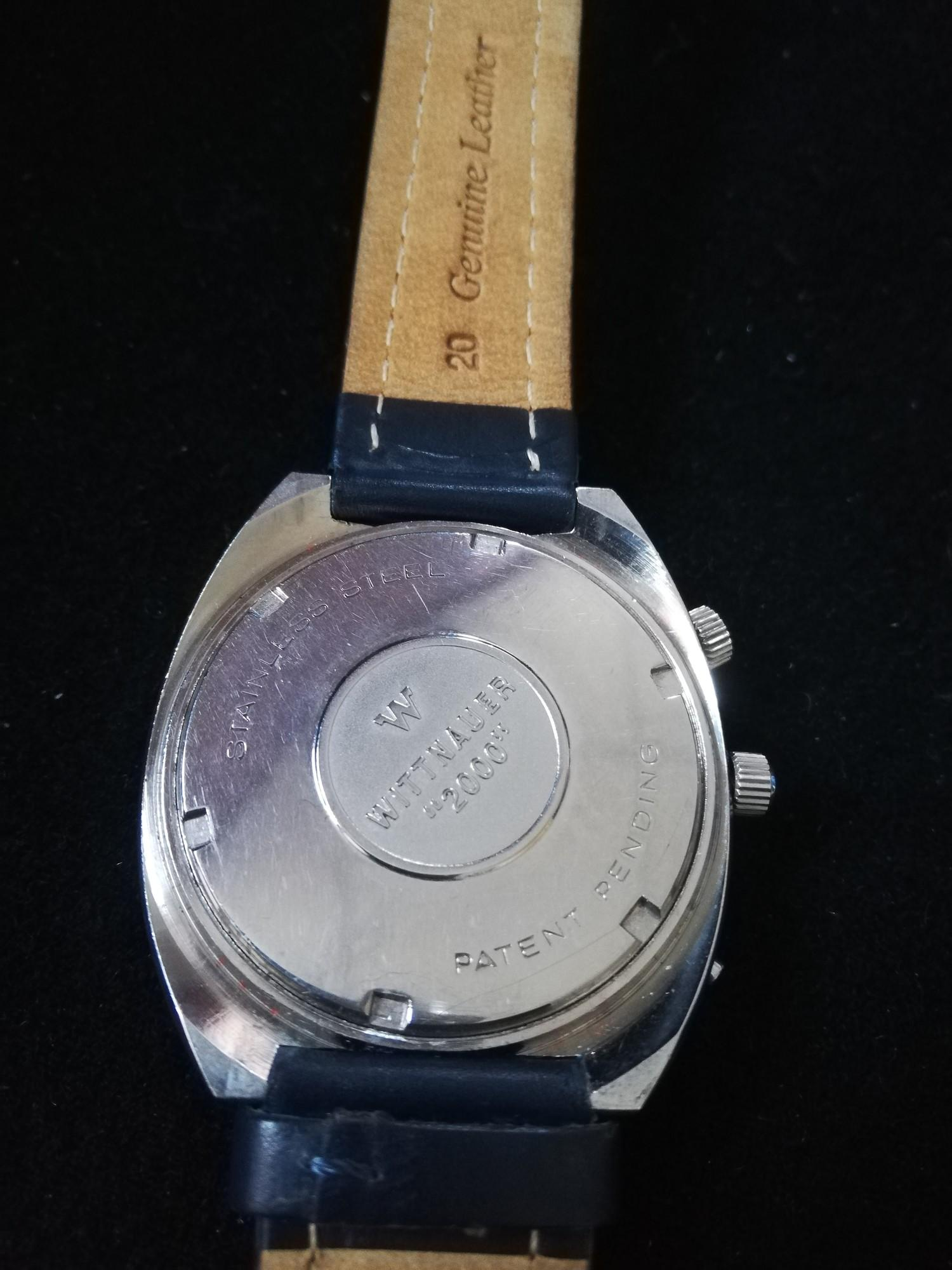 Wittnauer 2000 automatic perpetual calendar watch -stainless steel case & leather strap - Image 2 of 2