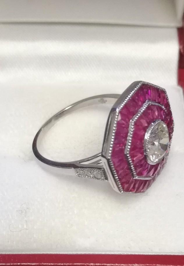 Fine quality octagonal shaped platinum ruby & diamond dress ring set with a central old cut diamond - Image 2 of 4