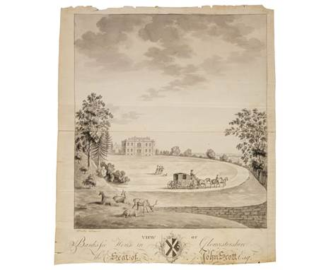 * Beilby (William, c.1740-1819). View of Banks Fee House in Gloucestershire the Seat of John Scott Esq., pen, ink & monoc