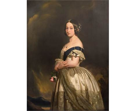 * Attributed to Nicholas Chevalier (1828-1902). Portrait of Queen Victoria, after Franz Xaver Winterhalter (1805-1873), circa
