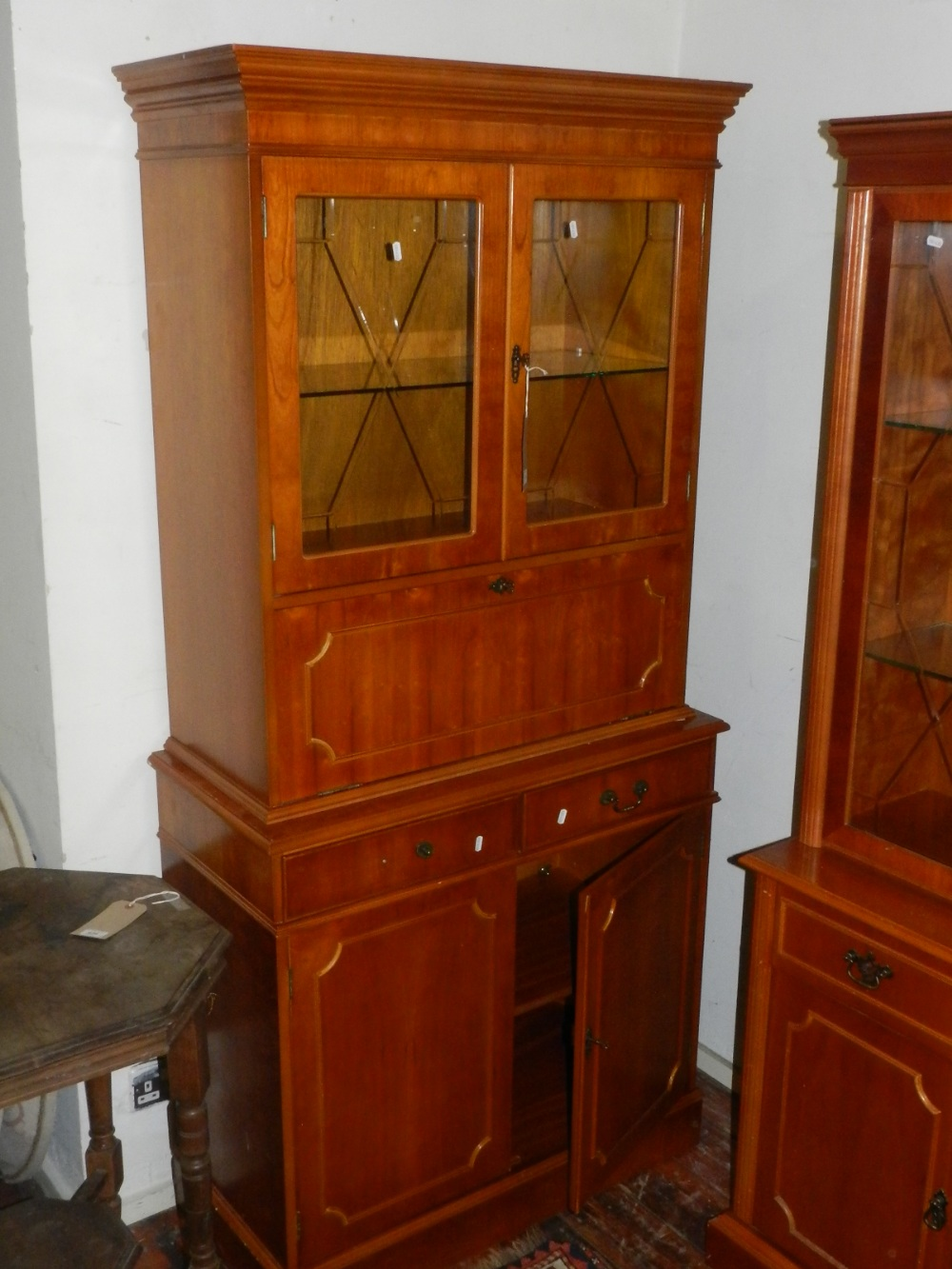 door cabinets kitchen a 20th century yew wood display cabinet two 15001