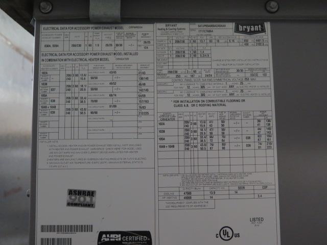 "Lot 23 - Bryant ""Legacy Line"" 547JP05A000A2A0AAA 4 Ton Heat Pump 208V-3ph"
