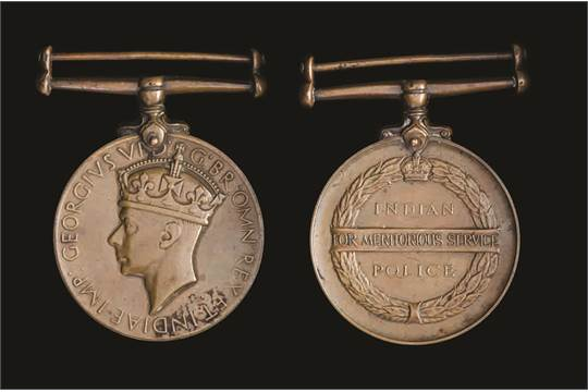 Indian Police Medal, George VI, for Meritorious Service