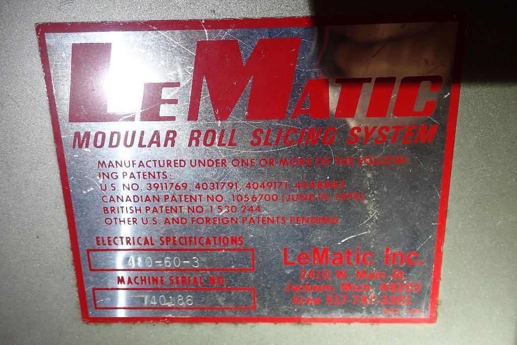 Lot 15 - Lematic bagel slicer, Model BF-10, Model GU7-5-2, SN740186, mild steel frame **Rigging FEE: $100 **
