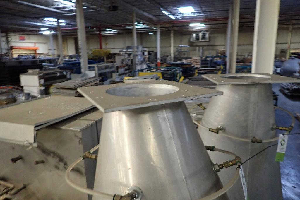 Lot 33 - Aluminum flour hopper, 48 in. dia x 64 in. long with aluminum slant bottom hopper, 48 in. dia x 20 i