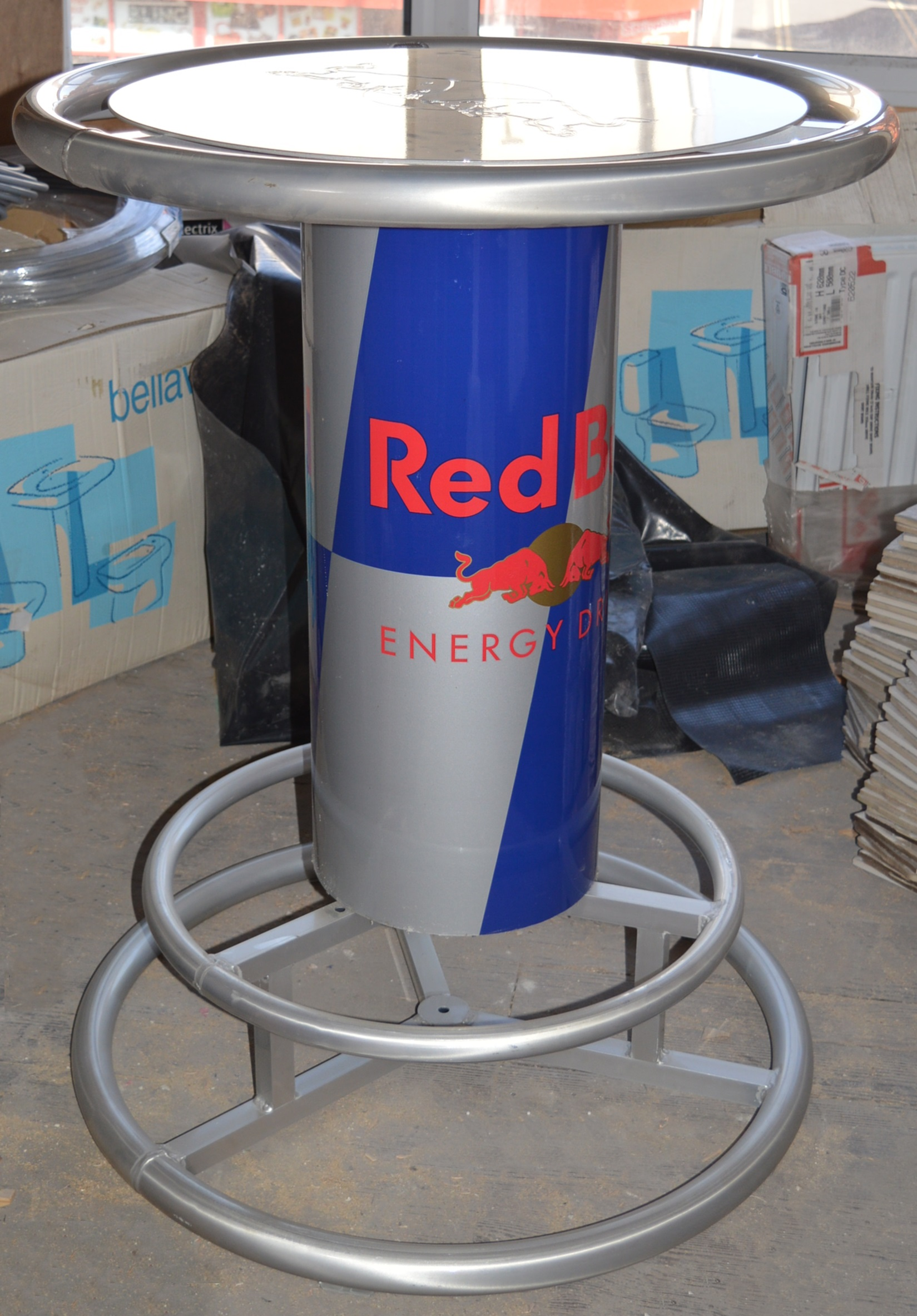 1 X Genuine Red Bull Round Bar Table Rare Table From Red