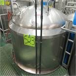 Crepaco Jacketed S.S. Tank, Approx. 1,800 Gal. Bottom Cone w/ SEW 1/2hp Agitator w/ (3) Tri-Clover