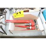 (3) PIPE WRENCHES