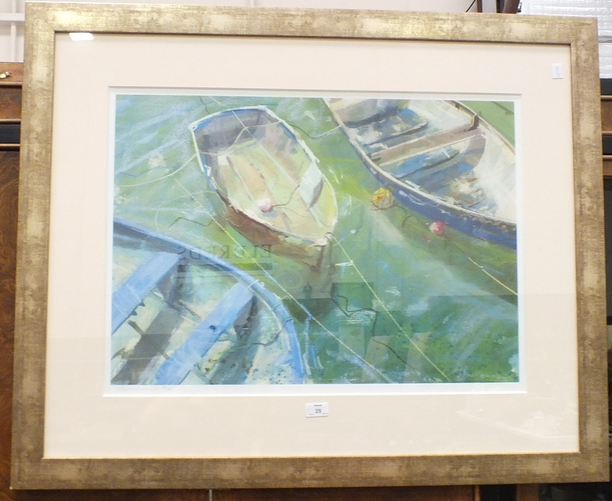 Lot 29 - After J Bartholomew, Moored Rowing Boats, a limited edition coloured print, 51 x 70cm, signed and