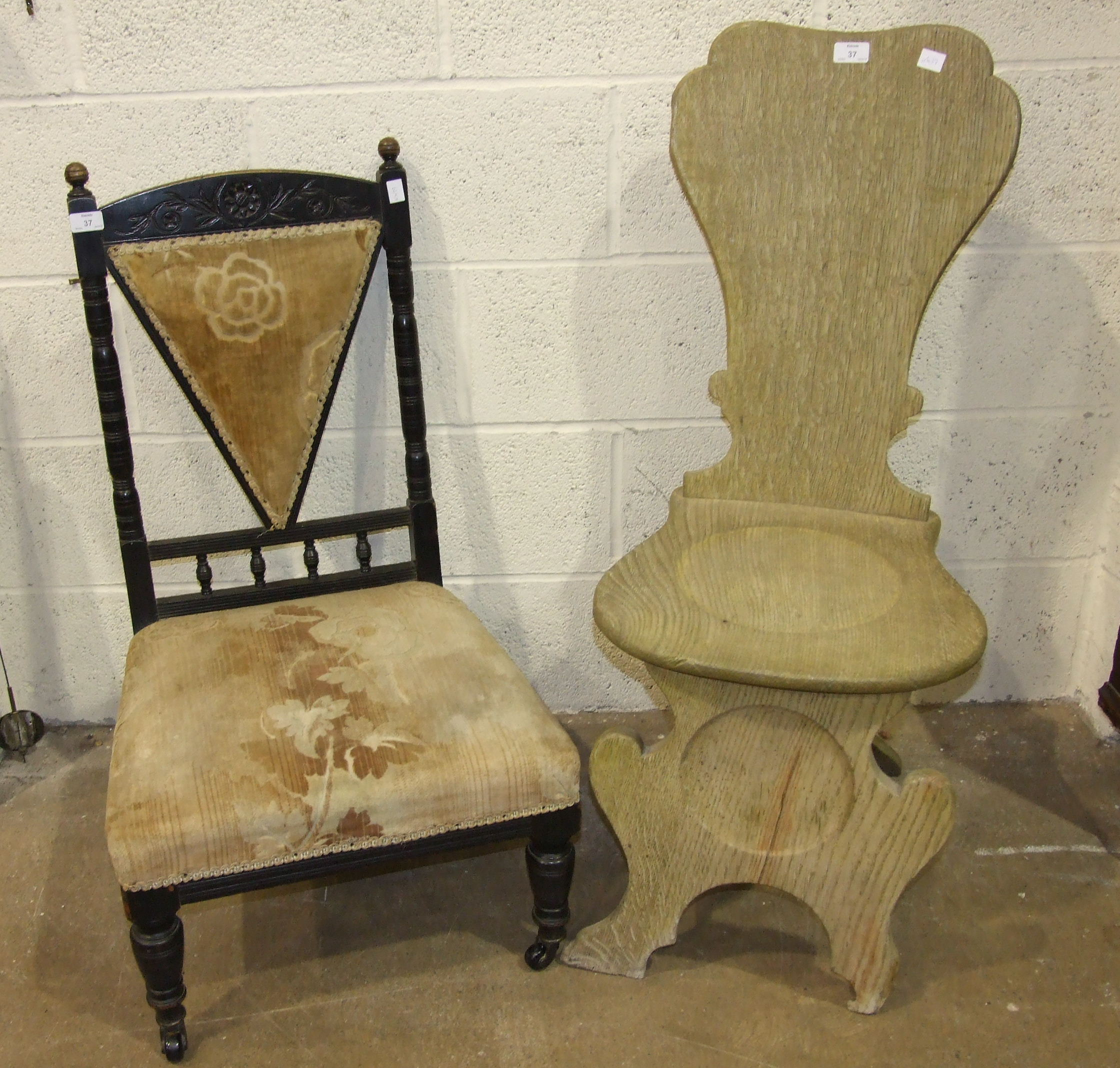 Lot 37 - A pair of 19th century oak hall chairs on solid seats, (bleached) and a pair of Edwardian stained