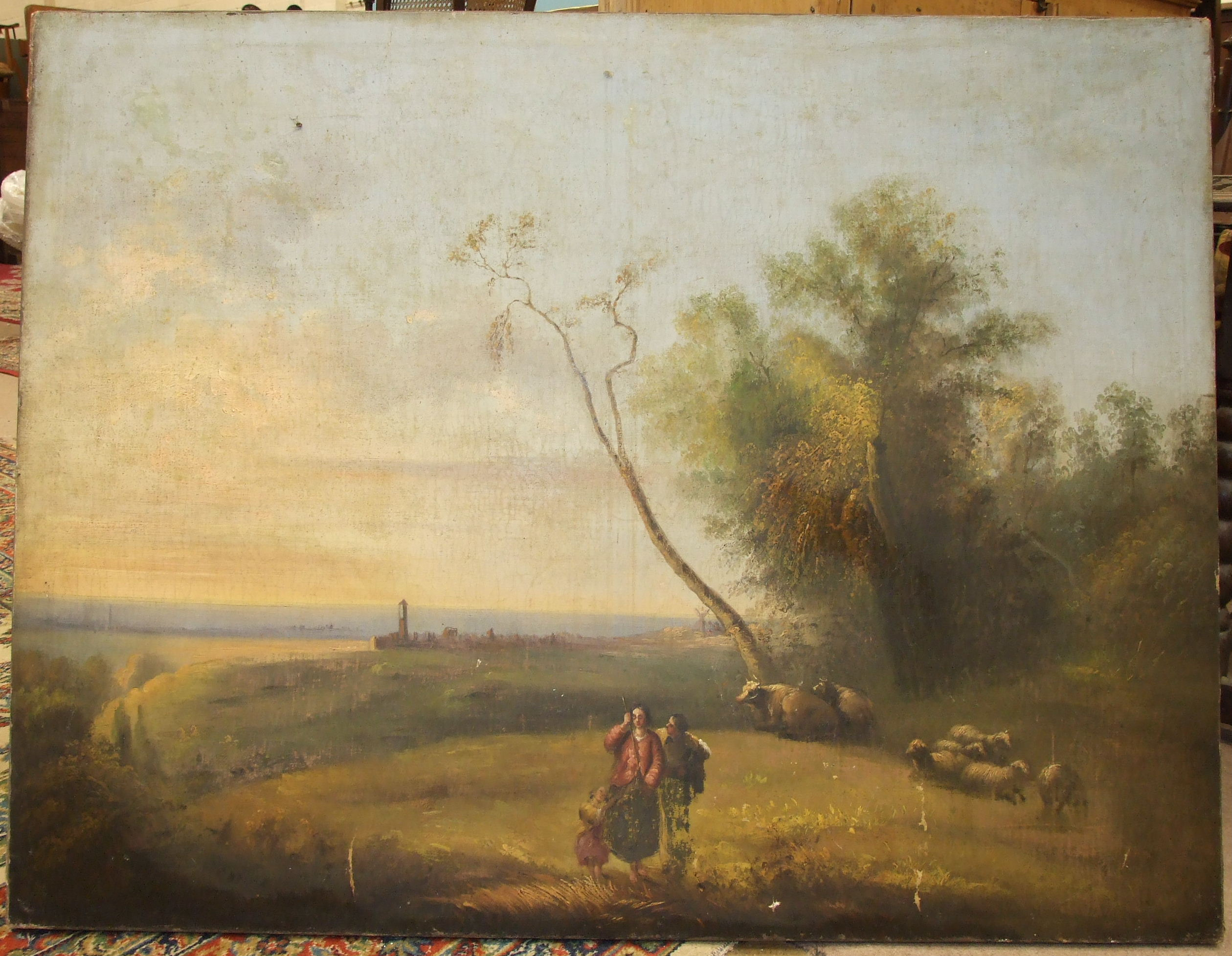 Lot 54 - 19th century Continental School LANDSCAPE WITH FIGURES AND SHEEP IN THE FOREGROUND Oil on canvas,