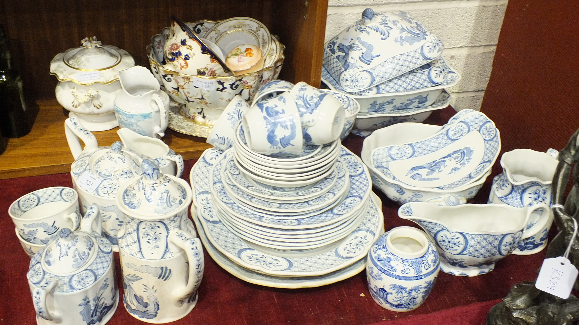 Lot 133 - An A E & Co Majestie green and white tea service, forty pieces, and a collection of Furnivals Ltd