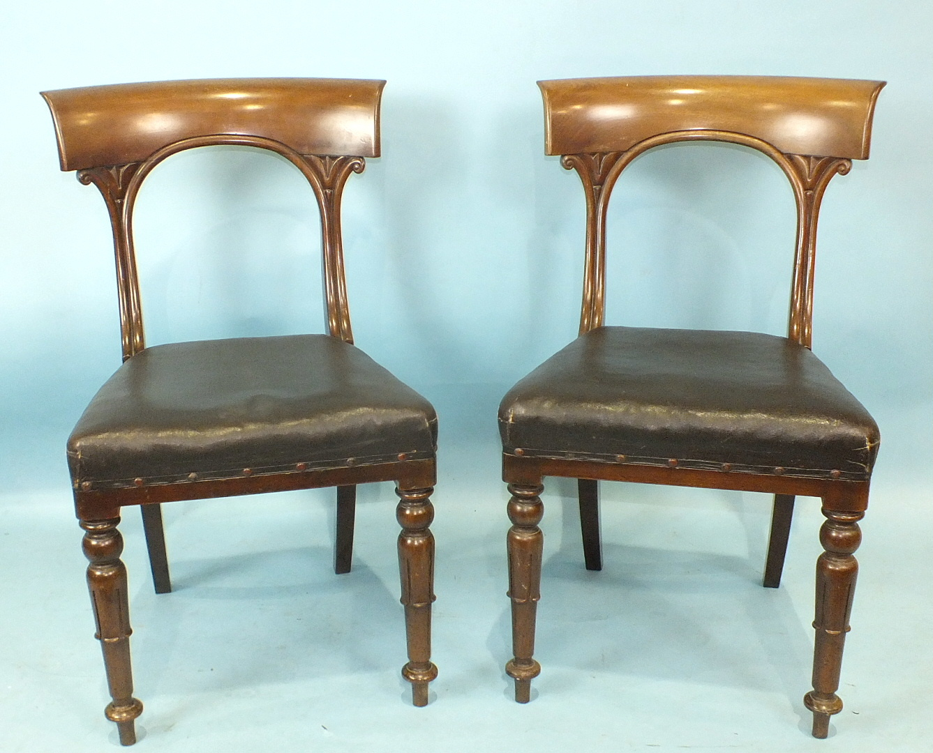 Lot 7 - A set of six 19th century mahogany dining chairs, each with curved top rail, open back and