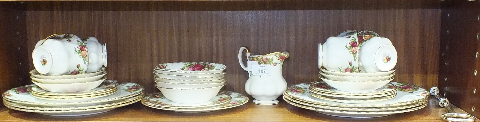 Lot 107 - Thirty-three pieces of Royal Albert Old Country Roses tea ware.