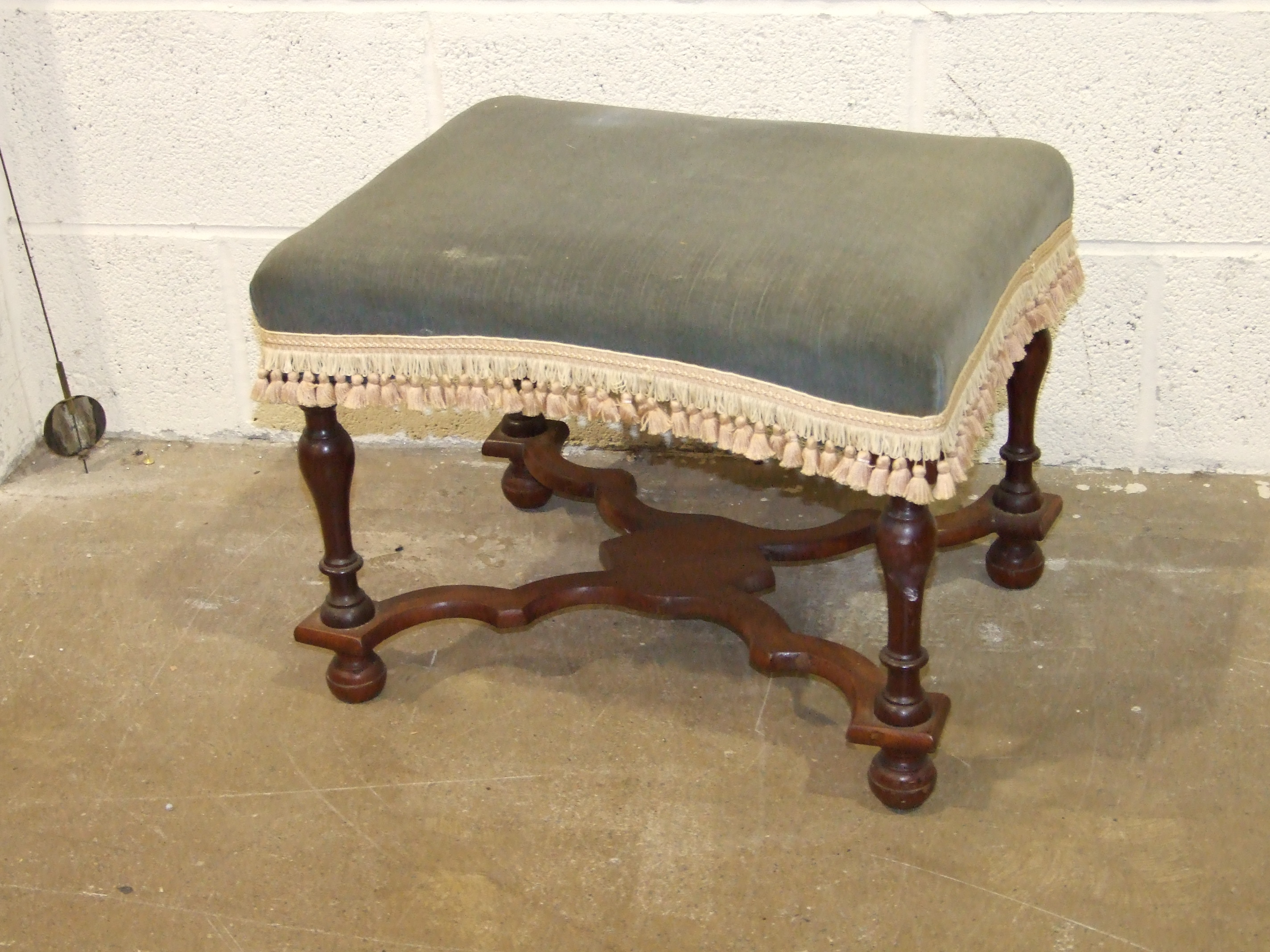 Lot 17 - An Edwardian low nursing chair with upholstered back and a 20th century mahogany stool, (2).