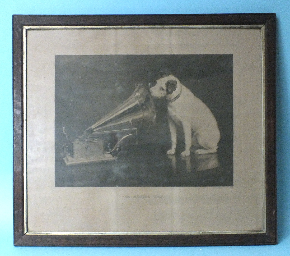 Lot 36 - His Master's Voice, a sepia print of the painting by Francis Barraud, framed and glazed, 61 x 69cm