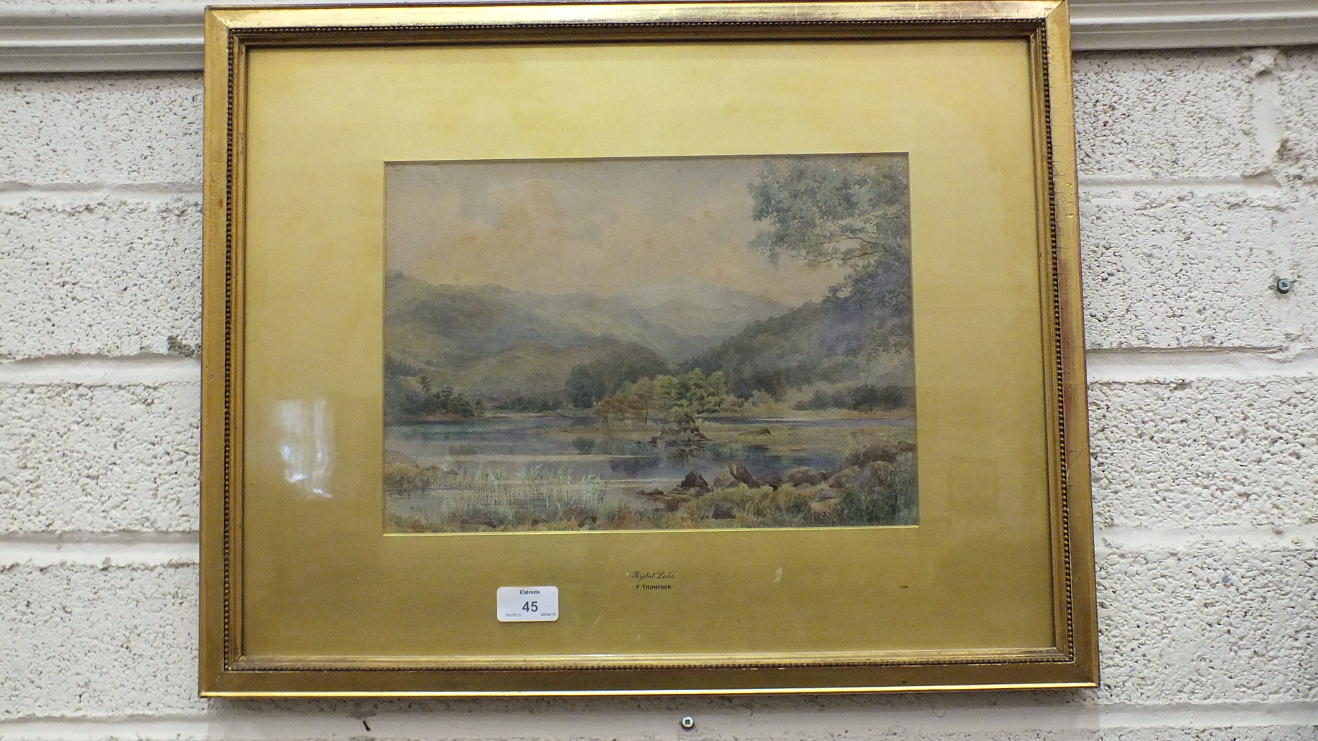 Lot 45 - F Thompson, Rydale Lake, watercolour, inscribed on mount, 24 x 33cm, another, Hannaford, Beach