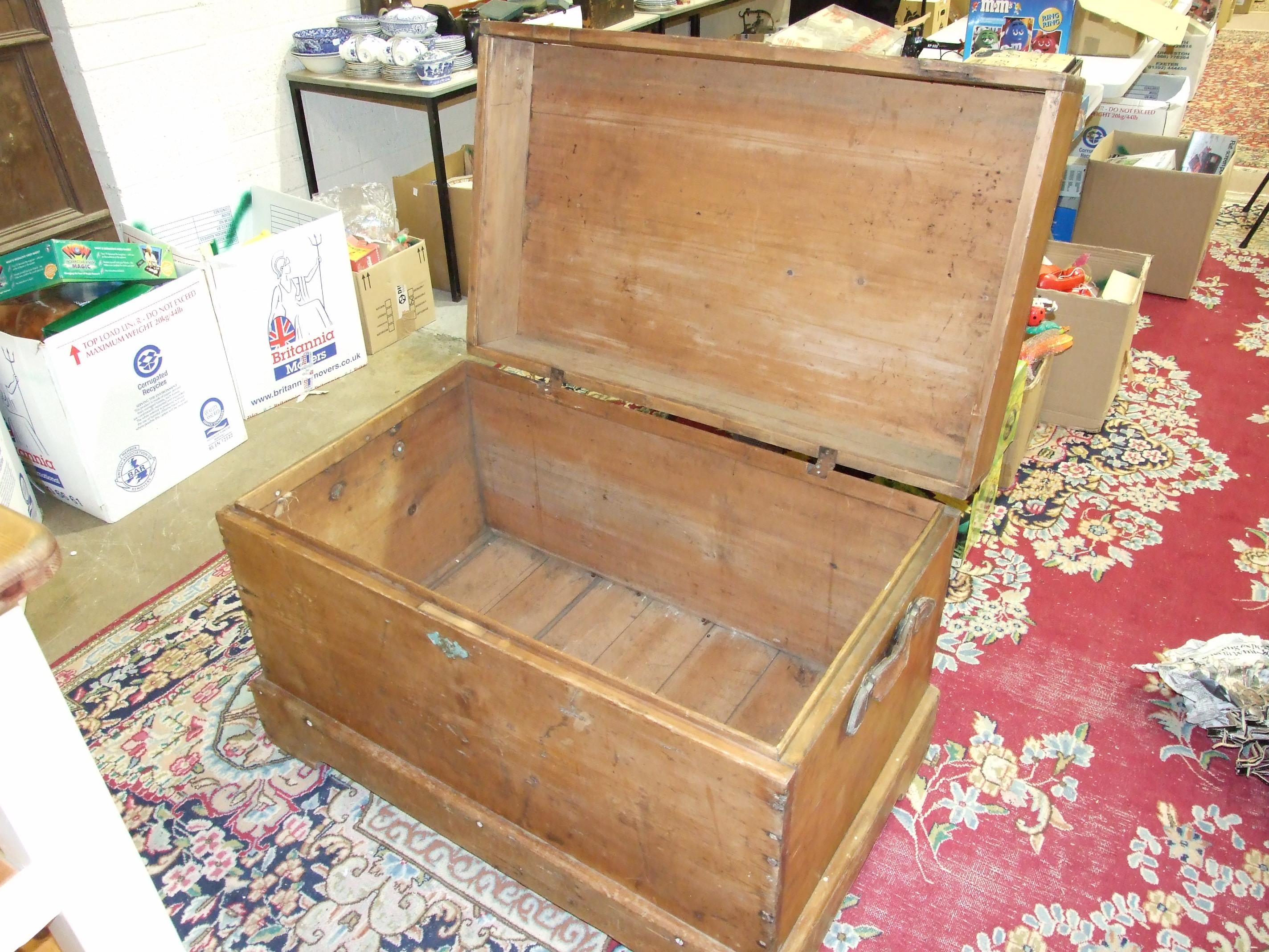 Lot 5 - A large pine chest, 103cm wide, 69cm high, 63cm deep.