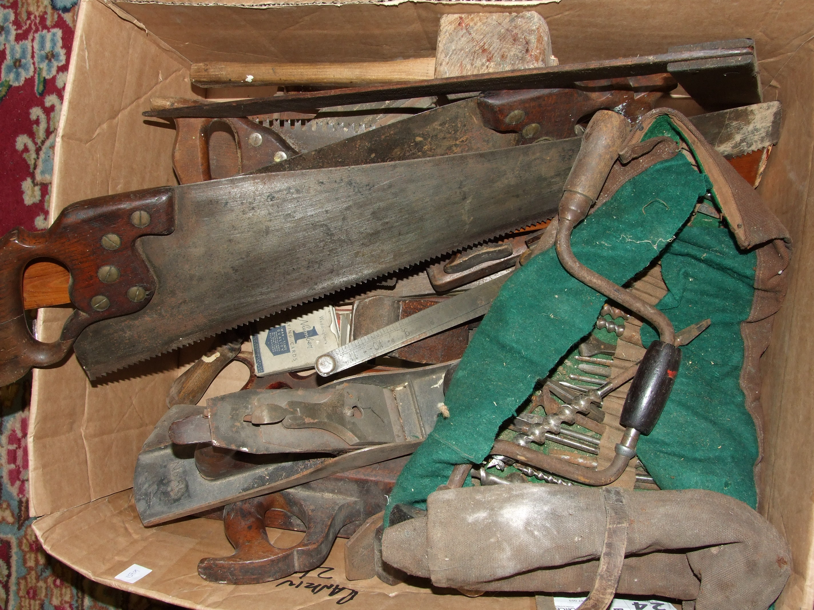 Lot 11 - A collection of shipwright's woodworking tools, including moulding planes, Bailey 5½ shooting plane,
