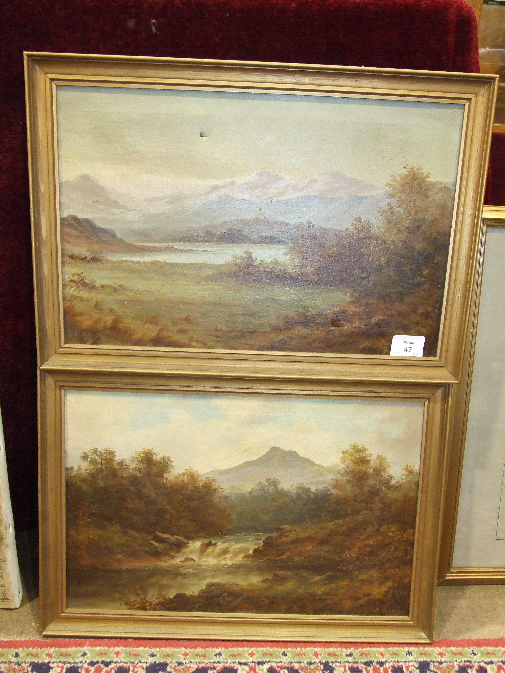 Lot 47 - S Barton, River landscape, Possibly Wales, signed oil on canvas, 29 x 44cm, a companion, a pair, (