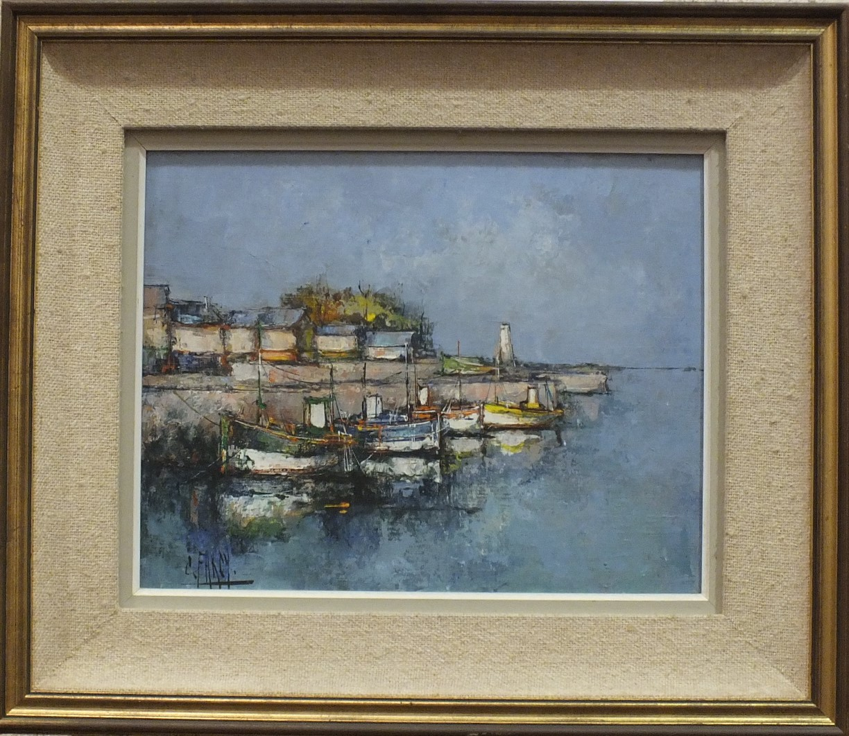 Lot 32 - Cristina Farcy (20th century French School), The Quayside, signed oil on canvas, 31 x 42cm.