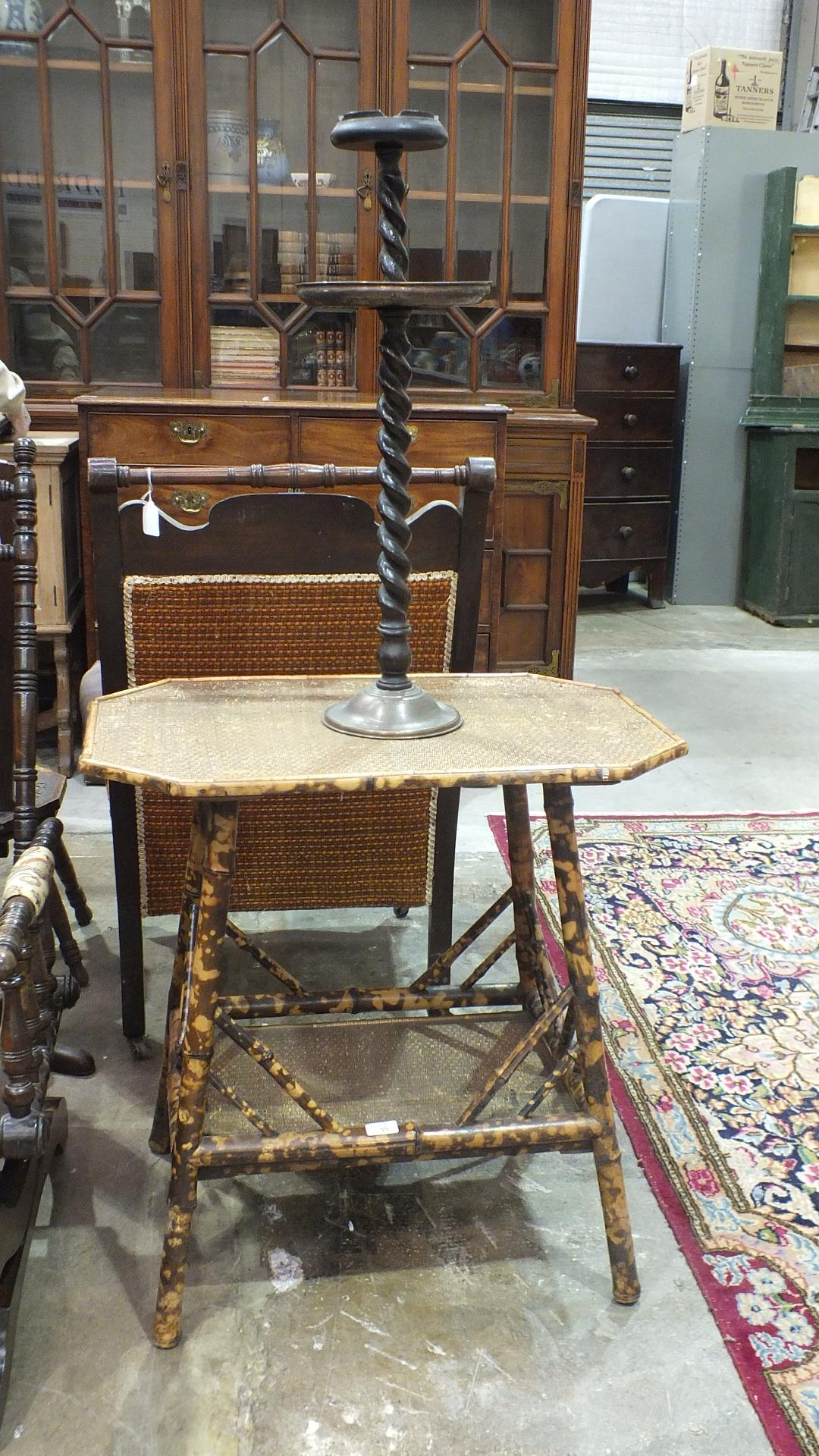 Lot 59 - A two-tier bamboo table and a smokers' stand.