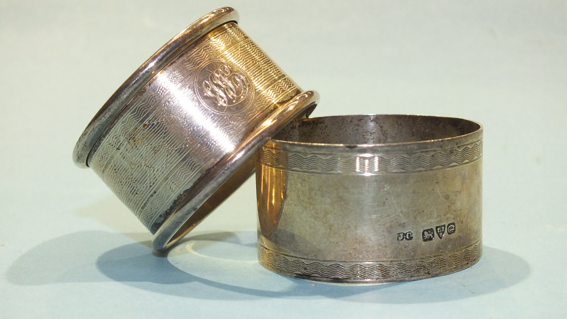 Lot 201 - Two silver napkin rings, Chester 1929 and Birmingham 1933 (2).