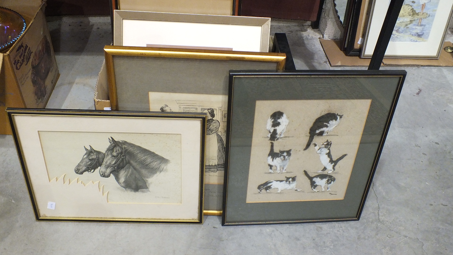 Lot 44 - Four prints of pencil drawings of horses, and other framed pictures.