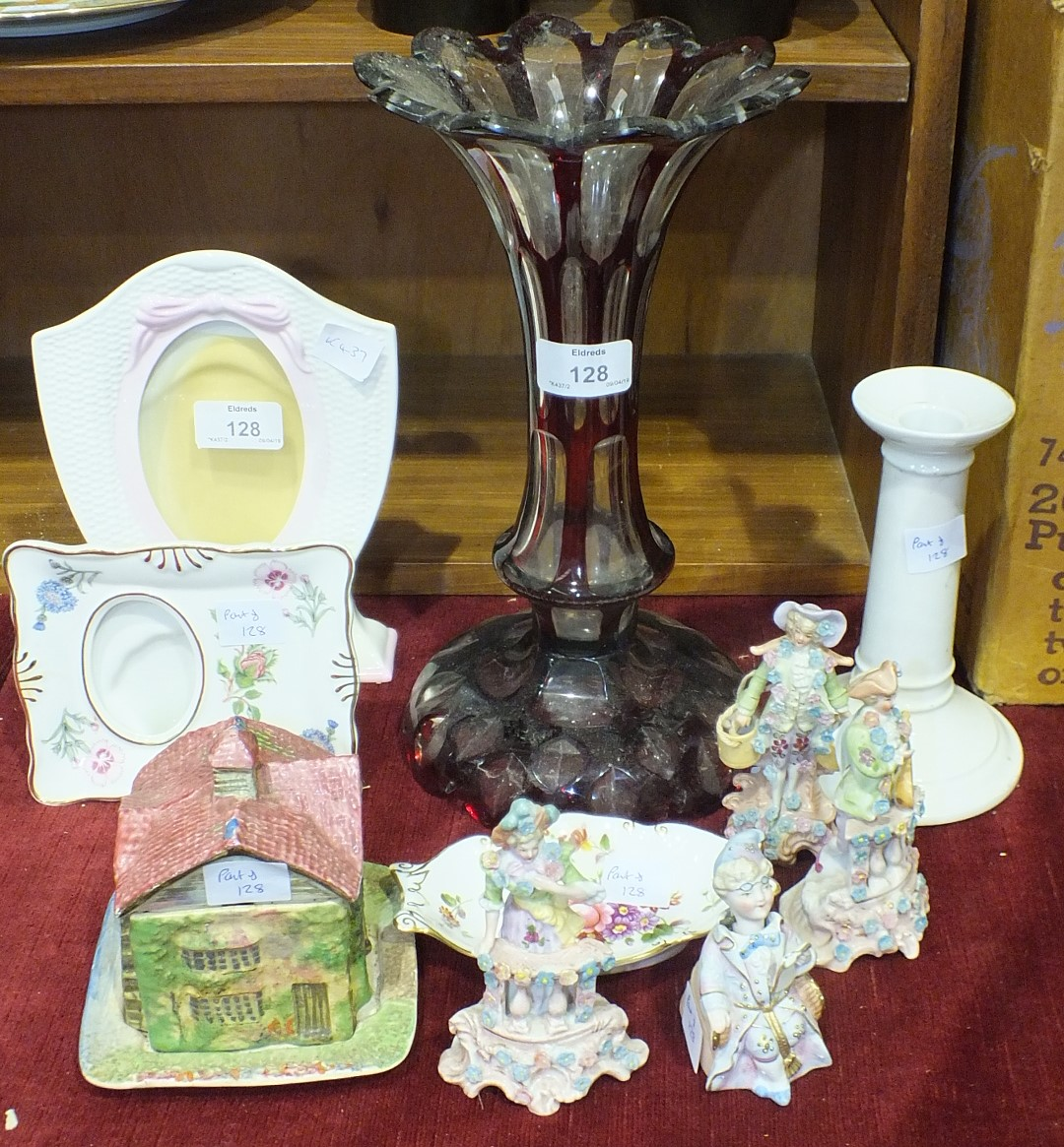 Lot 128 - An Aynsley porcelain photo frame and other 20th century ceramics and glass.