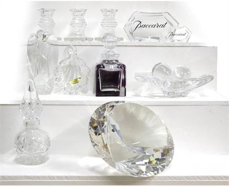 A boxed Rosenthal crystal diamond and a quantity of Baccarat glass including a statue of an angel, three dwarf candlesticks,