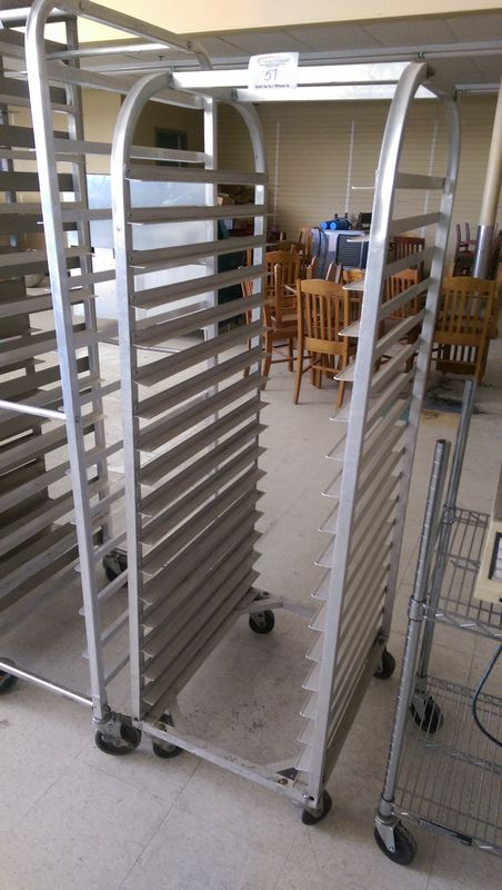 Lot 57 - Aluminum Bakers Rack with 18 Baking Trays