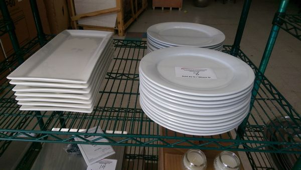 """Lot 8 - 24 - 11"""" Round Plates and 7 Rectangular Platters"""