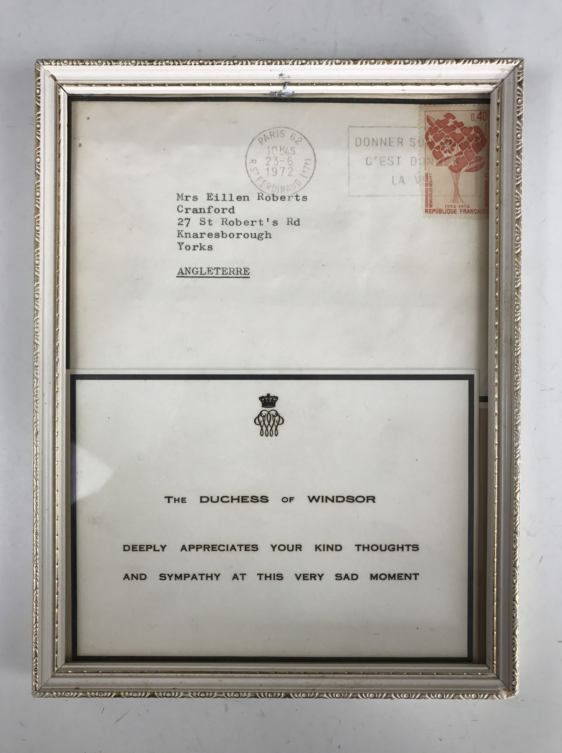 Lot 45 - [Kind Edward VIII / Wallis Simpson, Duchess of Windsor] A 1972 condolence recognition card and