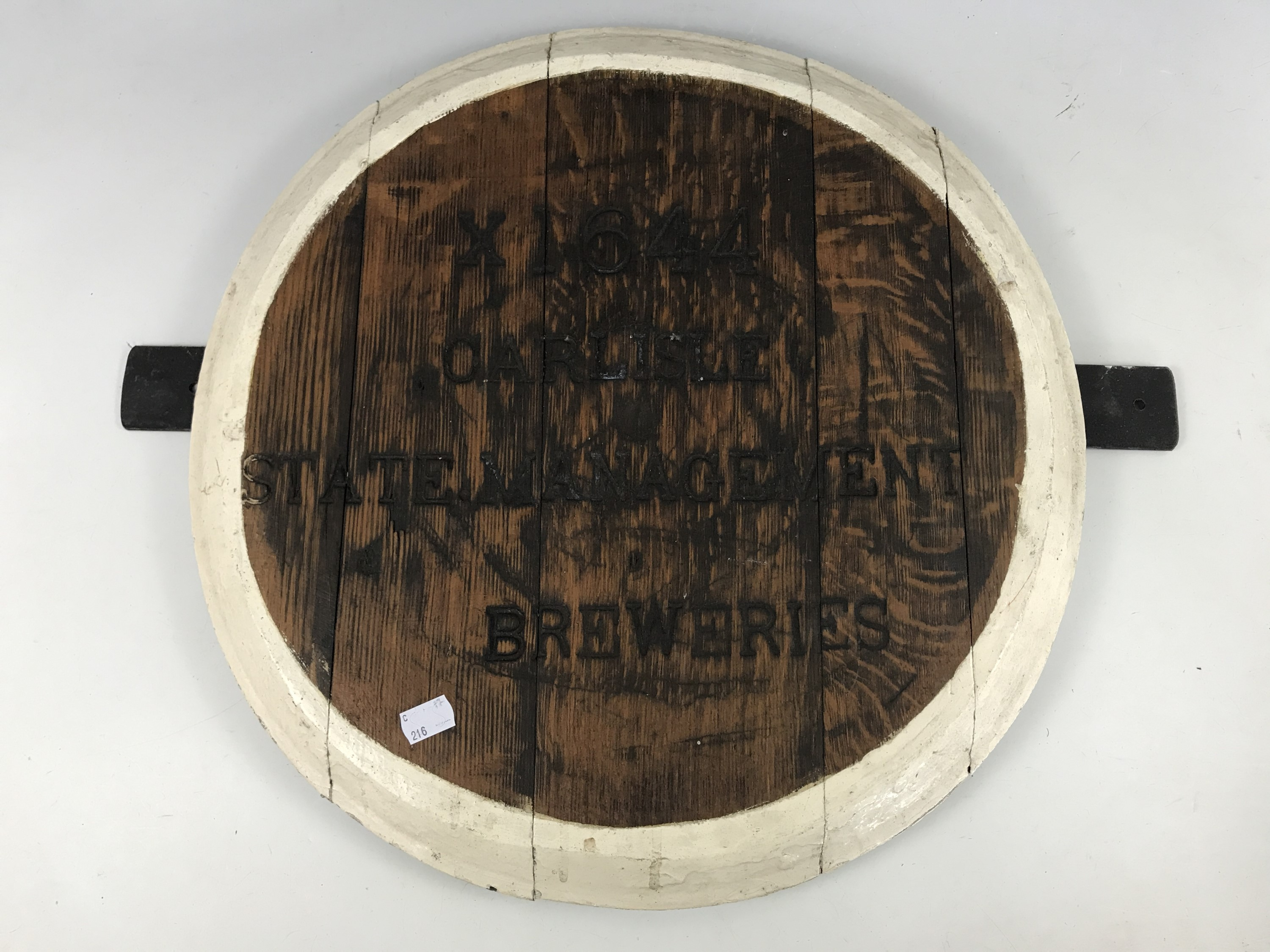 Lot 13 - A Carlisle State Management Breweries oak barrel head, 49 cm