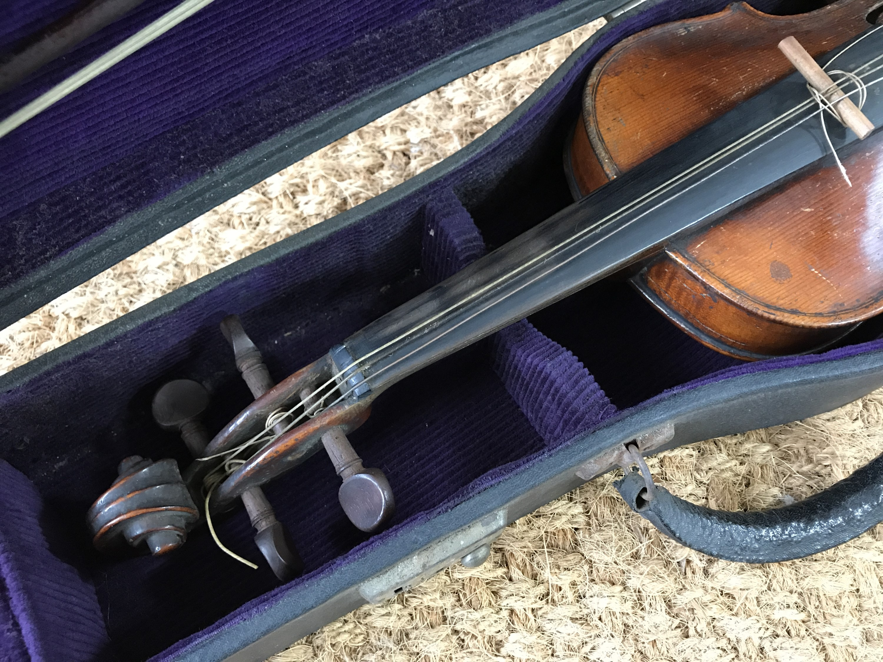 Lot 19 - A late 19th Century German violin marked Hopf, having one-piece back with 'Hopf' branding, and
