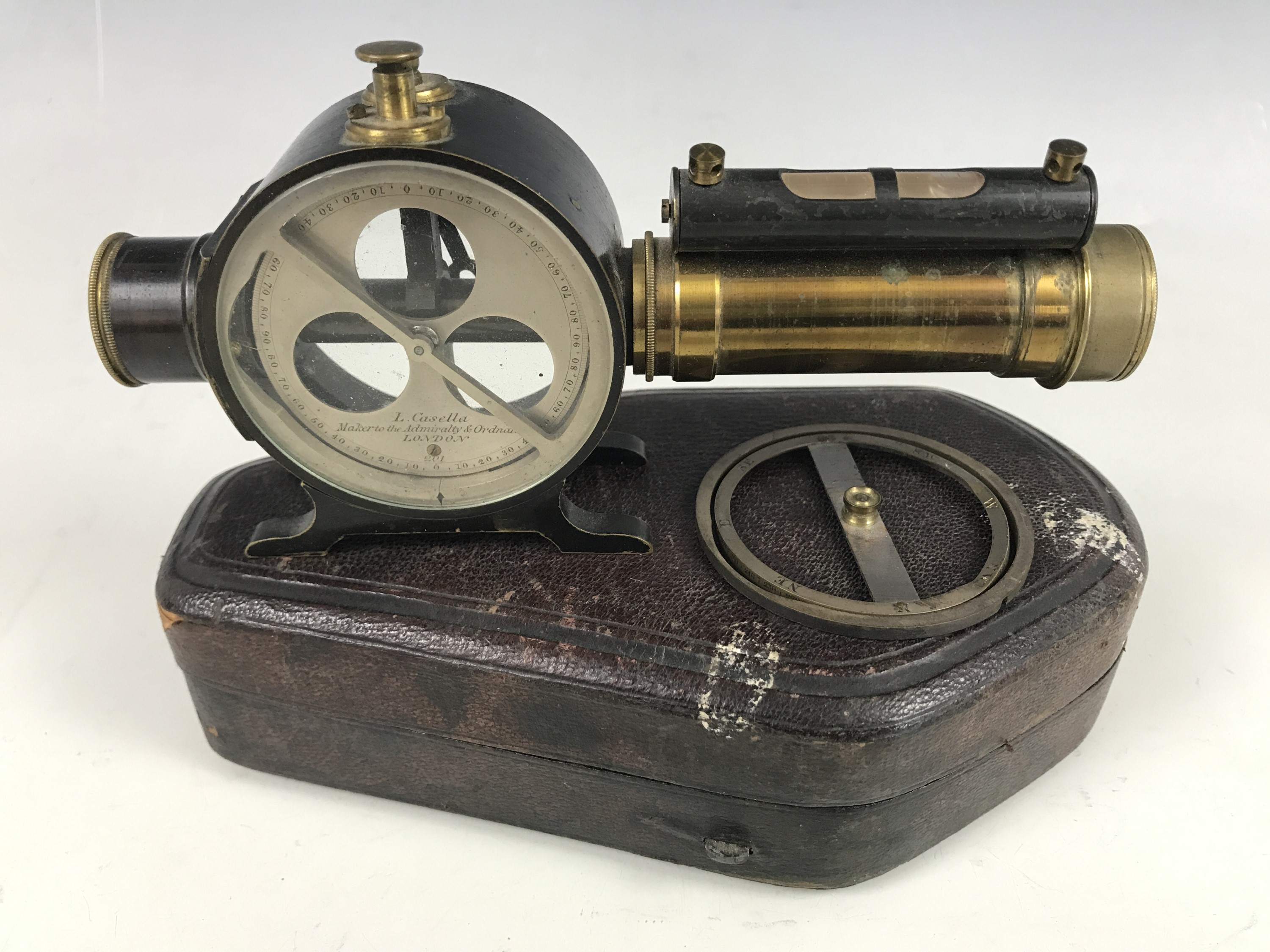 Lot 25 - A Victorian pocket combination compass and level by L Cassella, Maker to the Admiralty and Ordnance,