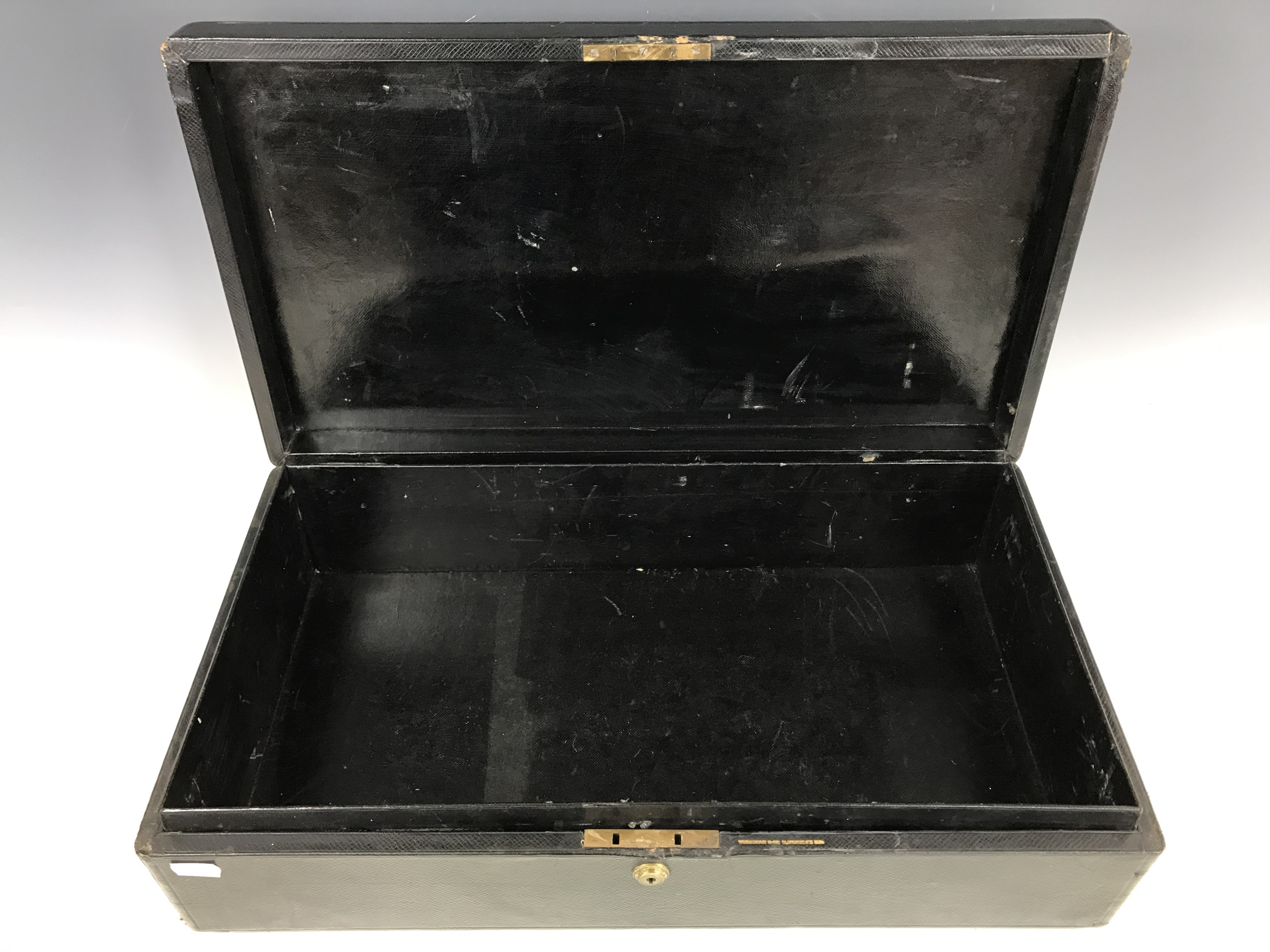 Lot 8 - An early 20th Century Scottish Land Court despatch box, bound in blind-tooled black leather, the lid