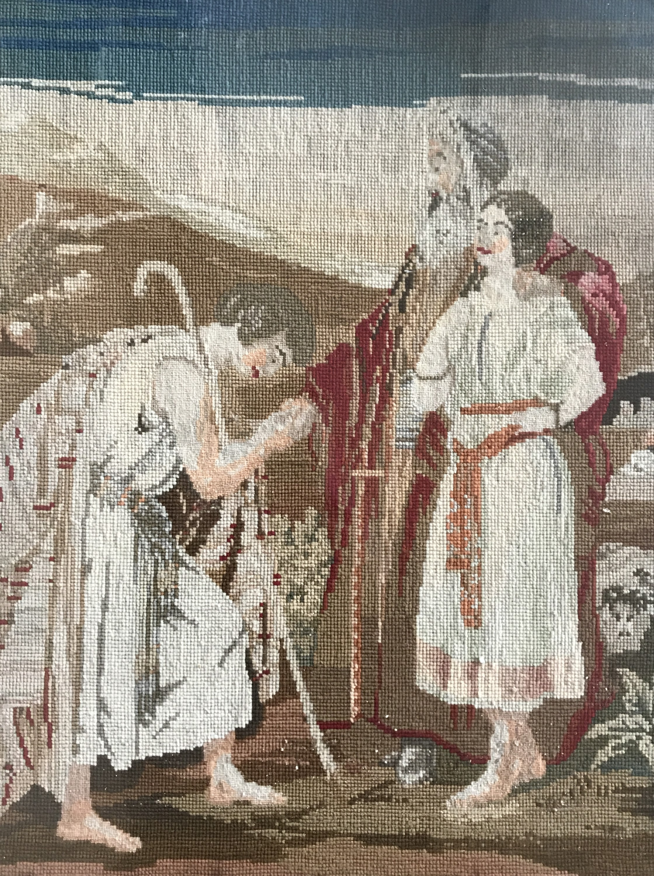 Lot 58 - A Victorian gros- and petit-point needlework tapestry of a Biblical scene, framed under glass, 52