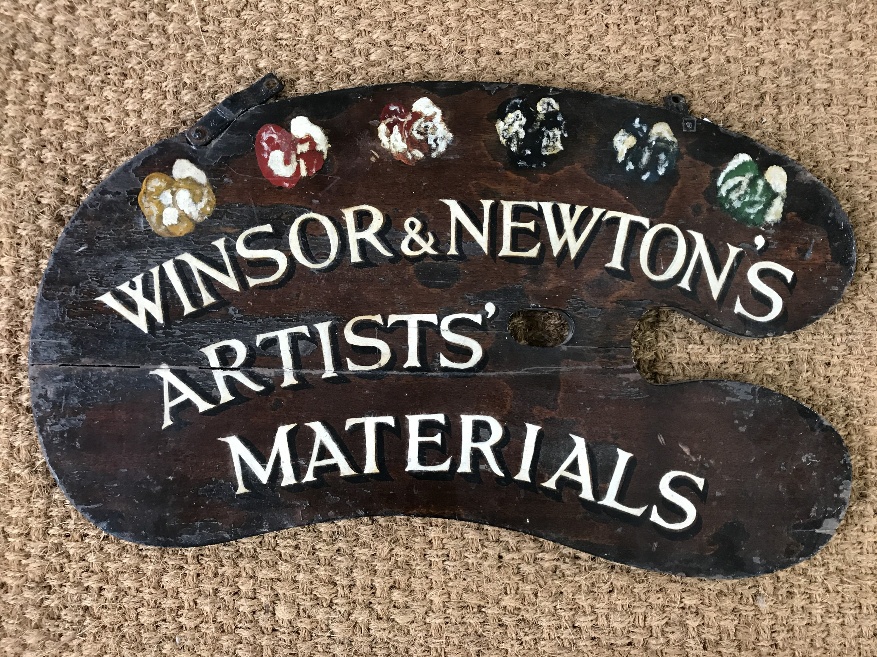 Lot 2 - A Windsor and Newton pendant advertising sign in the form of an artist's palette, of wooden