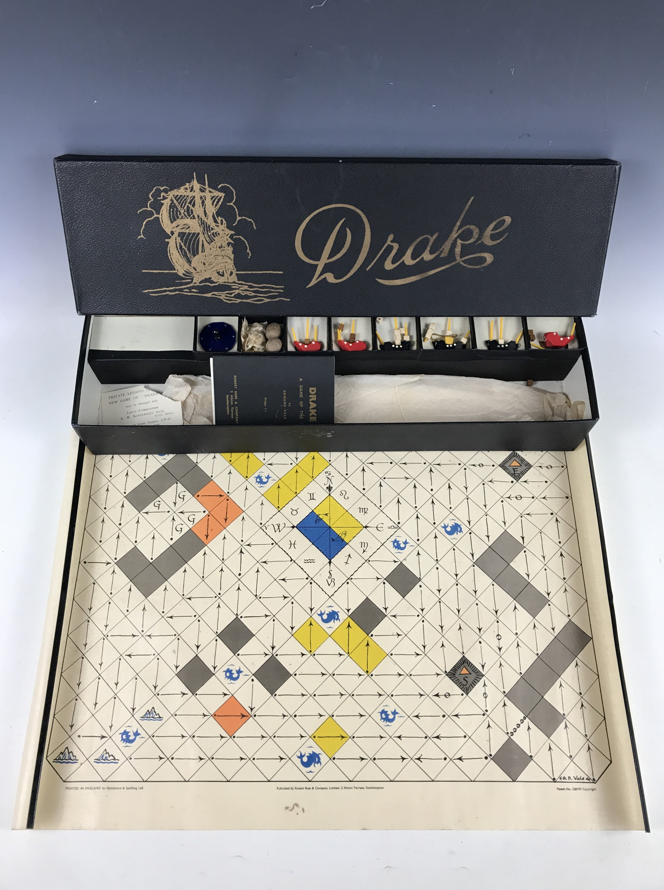 "Lot 55 - A 1934 Drake ""A Game of the Sea"" board game designed by Edmund Vale and manufactured by Robert"