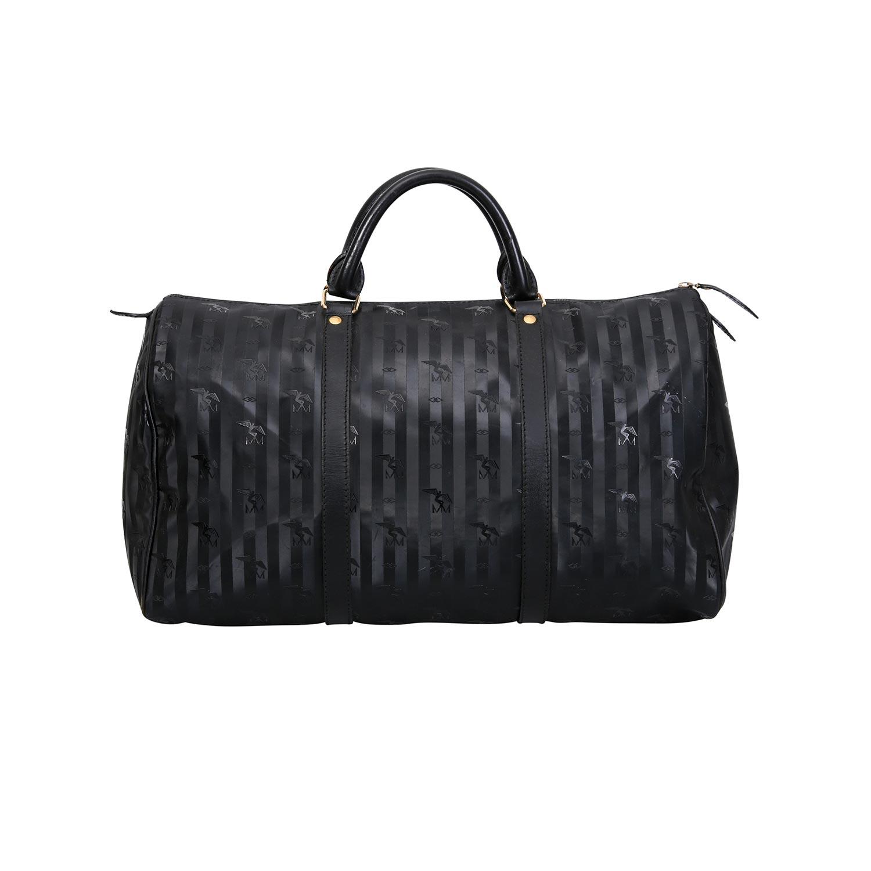 Lot 26 - MAISON MOLLERUS VINTAGE Weekender.Textil in Schwarz, strukturierte Oberfläche mit Streifenmuster und