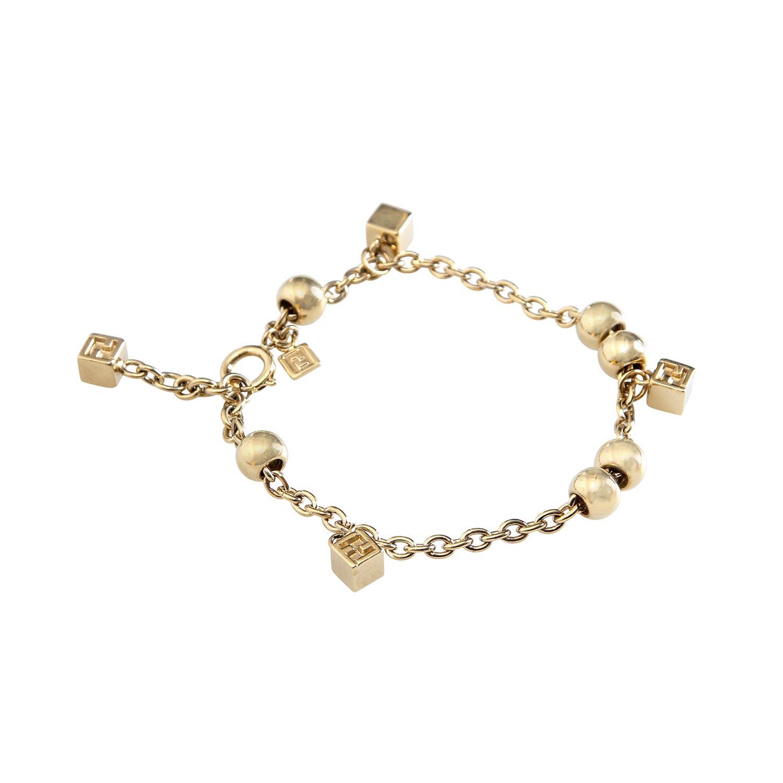 Lot 56 - FENDI Modeschmuck-Armband.Goldfarbenes Gleiderarmband mit Perlen und quadratischen Anhänger,