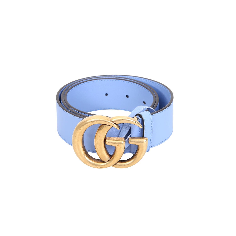 Lot 54 - GUCCI Gürtel, L.: 80 cm, akt. NP.: 420,-€.3,7 cm breit. Doppel G Schnalle aus Messing,