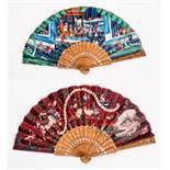 FOLDING FAN WITH FIGURATIVE SCENE, ANIMALS etc. Gouache, silk, ivory, wood. China, late Qing Dynasty