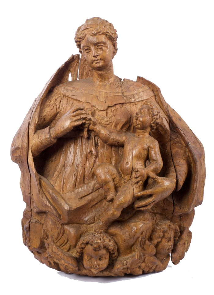 Large relief carved pine ecclesiastical devotional boss
