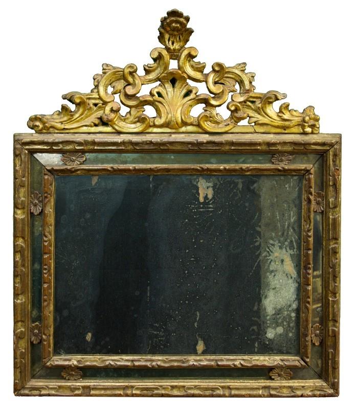 18th century italian baroque giltwood wall mirror of for Rectangular baroque mirror