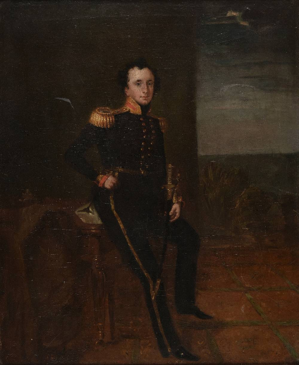 Lot 14 - *English School. Portrait of Captain Follett Walrond Pennell, in Royal Navy uniform, circa 1828, oil